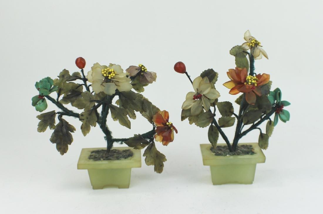 PAIR SMALL CHINESE BONSAI JADE TREES