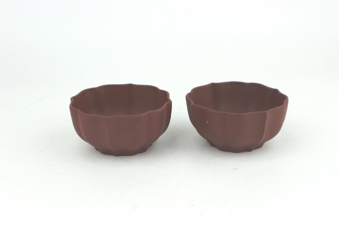 PAIR OF CHINESE ZISHA TEACUP SIGNED