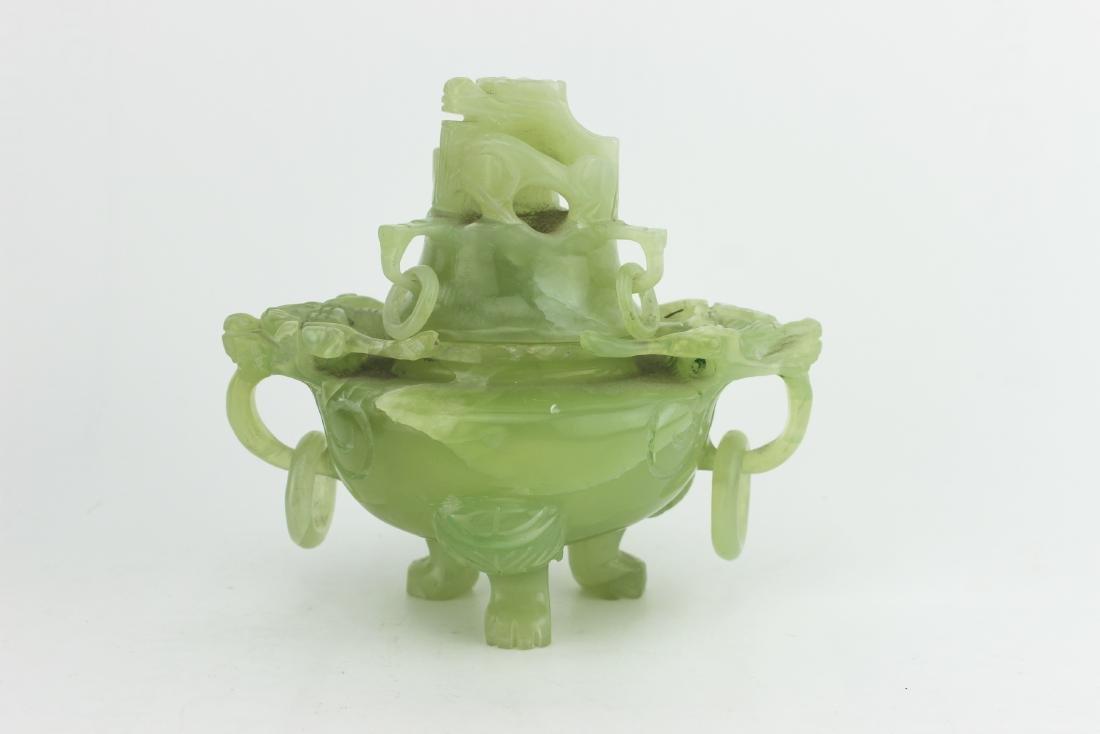 Lidded Serpentine jade Censer