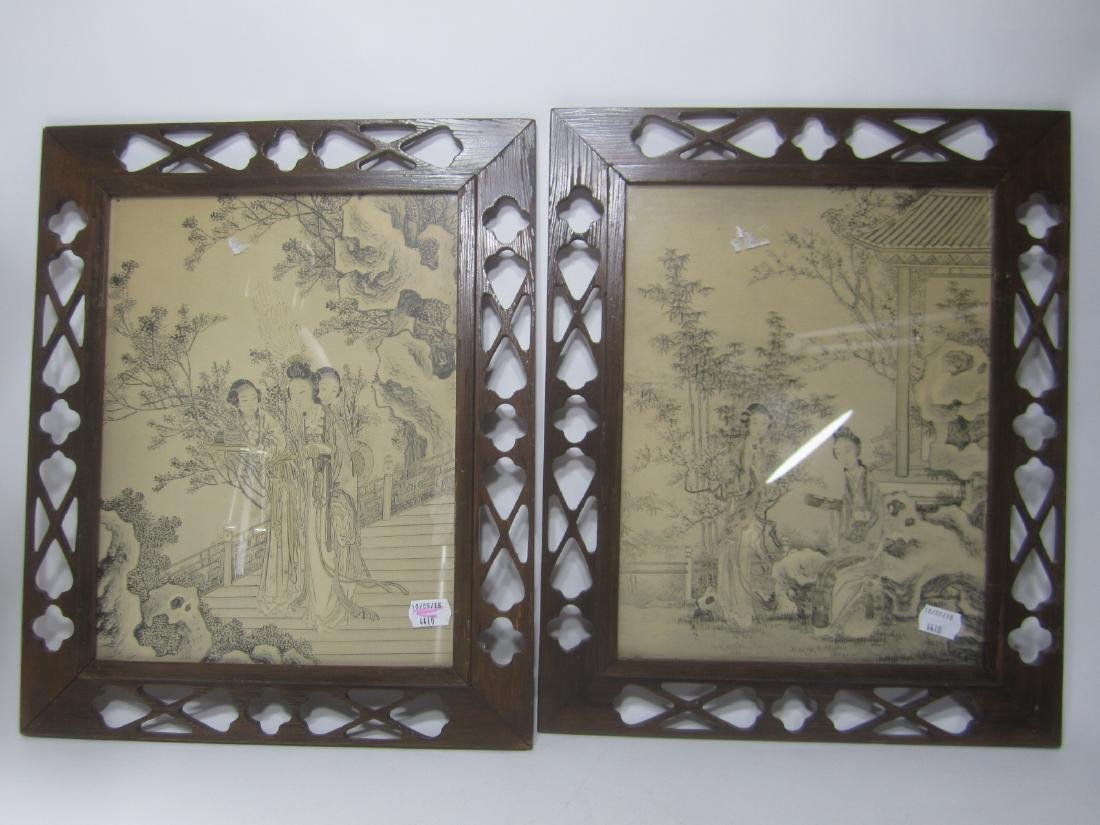 PAIR OF FRAMED CHINESE PAINTING