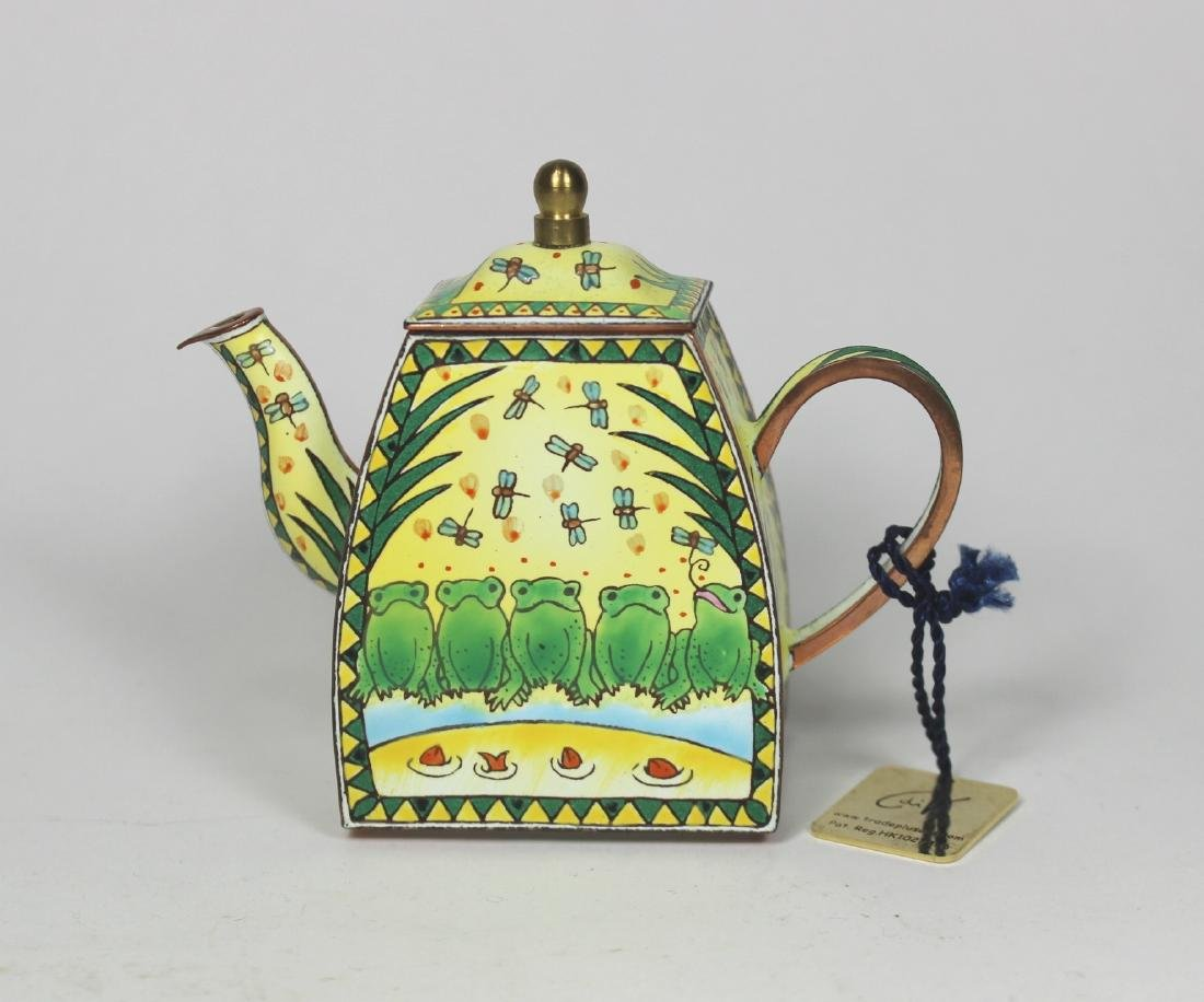 HAND PAINTED TRADE PLUS AID ENAMEL TEAPOT
