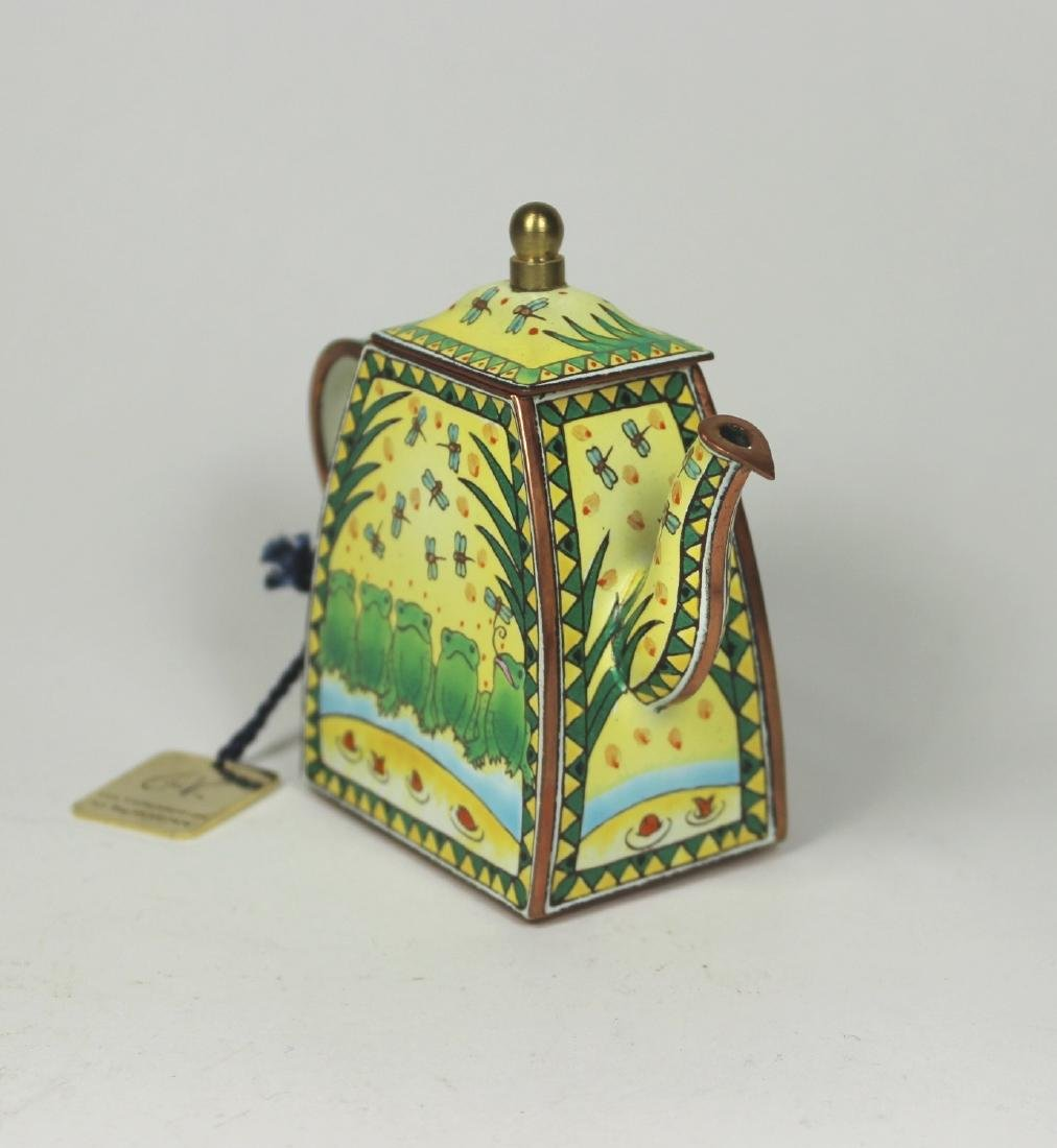 HAND PAINTED TRADE PLUS AID ENAMEL TEAPOT - 2