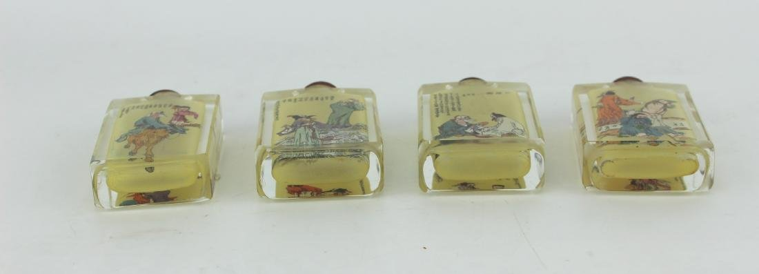 FOUR INSIDE PAINTING GLASS SNUFF BOTTLES - 3