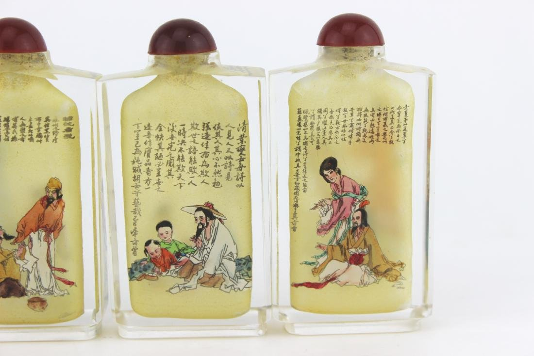 FOUR INSIDE PAINTING GLASS SNUFF BOTTLES - 6