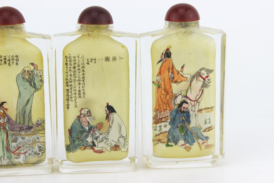 FOUR INSIDE PAINTING GLASS SNUFF BOTTLES - 8