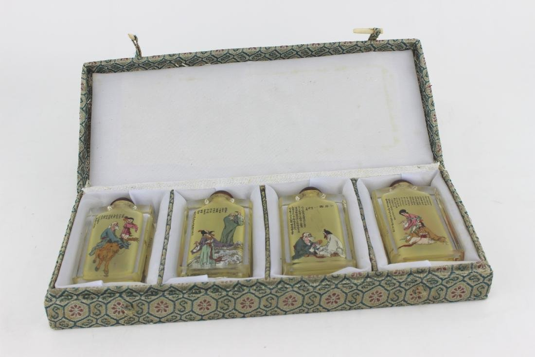 FOUR INSIDE PAINTING GLASS SNUFF BOTTLES - 9