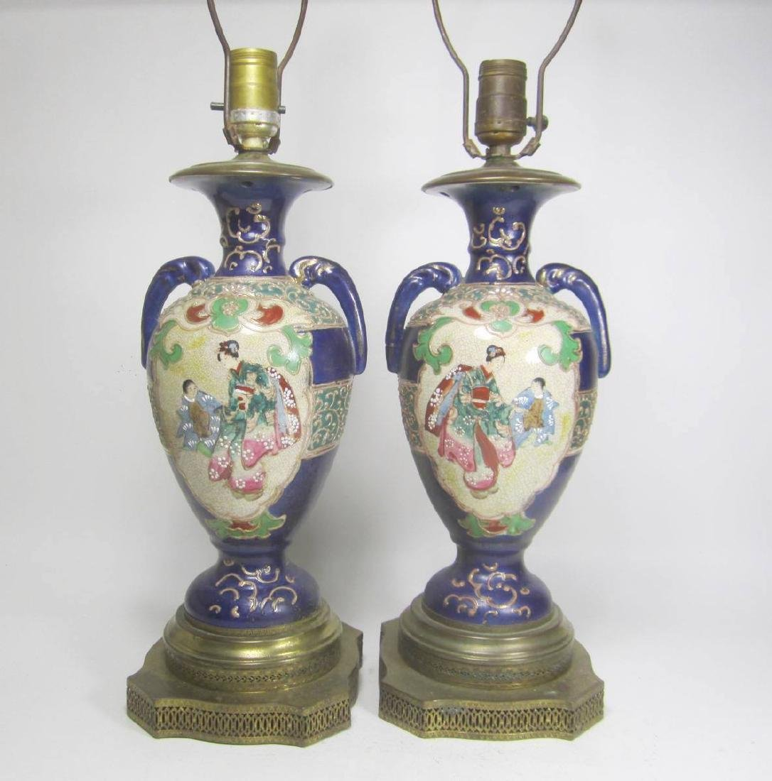 PAIR OF  JAPANESE IMARI VASE LAMPS