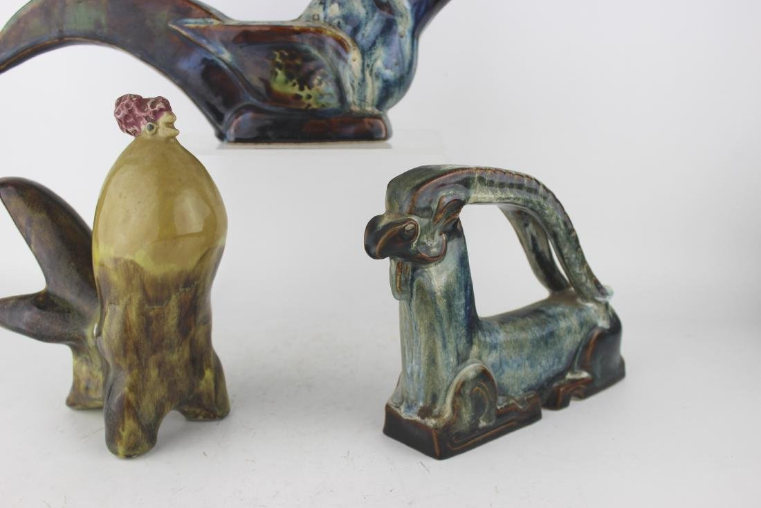 THREE ASIAN ART PORCELAIN ANIMAL STATUSES - 5