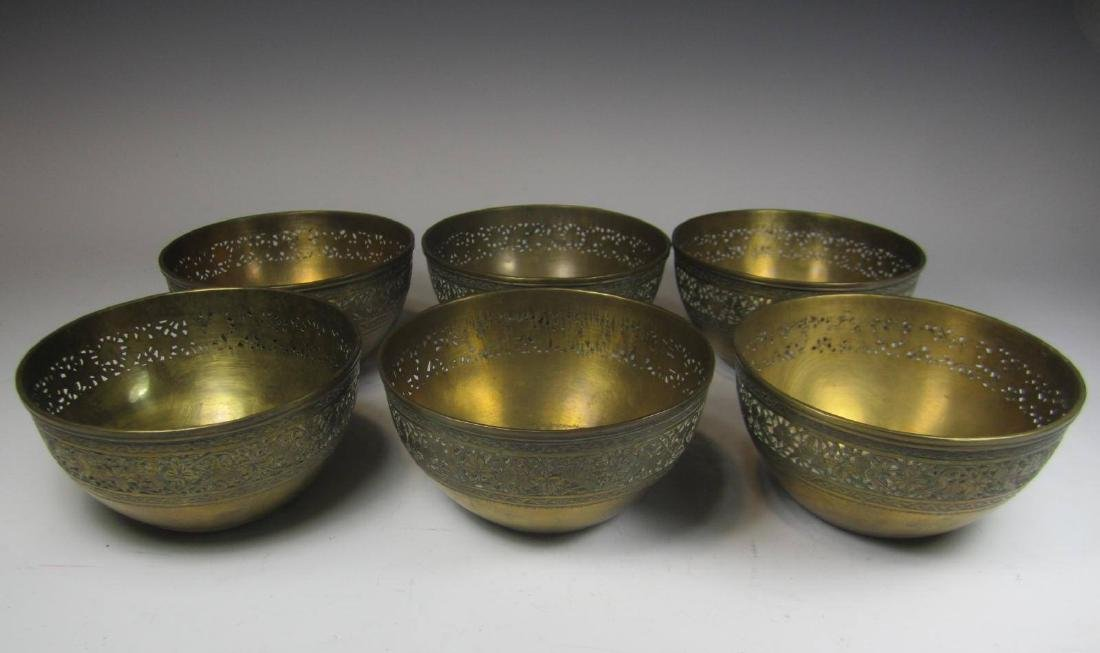 SIX BRASS BOWL WITH RETICULATED DECORATION