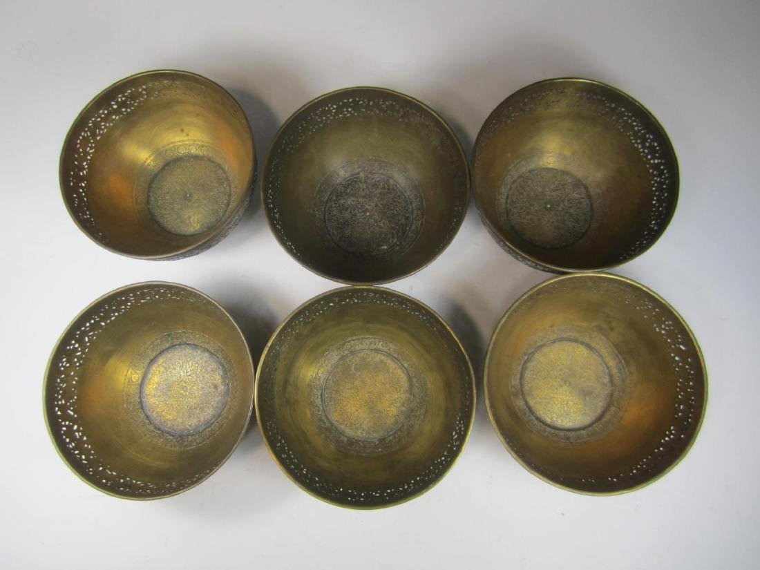 SIX BRASS BOWL WITH RETICULATED DECORATION - 2