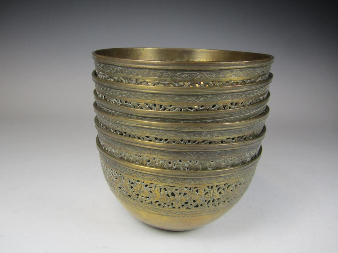 SIX BRASS BOWL WITH RETICULATED DECORATION - 3