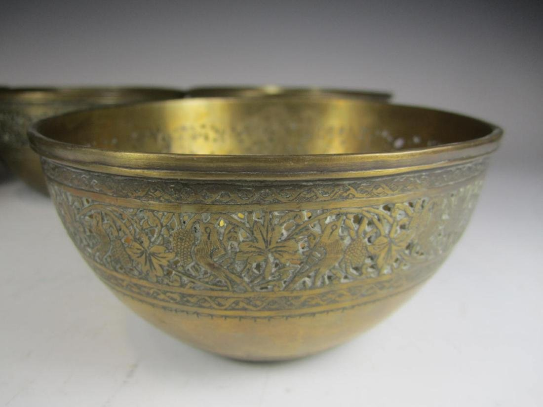 SIX BRASS BOWL WITH RETICULATED DECORATION - 6