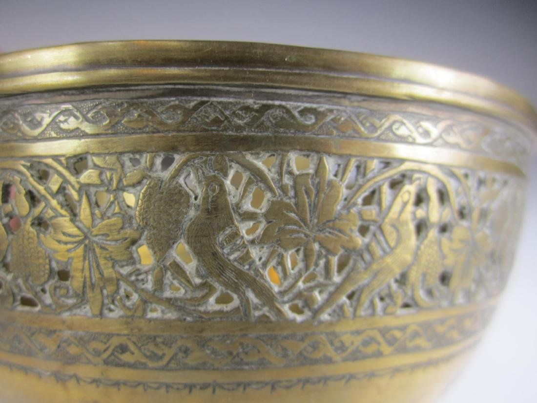 SIX BRASS BOWL WITH RETICULATED DECORATION - 7