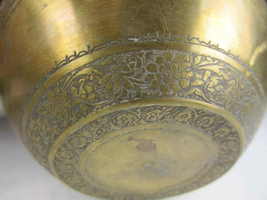 SIX BRASS BOWL WITH RETICULATED DECORATION - 9