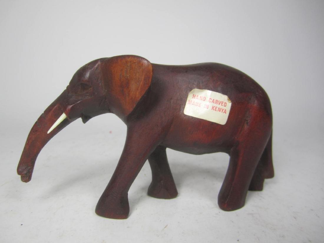 HAND CARVED KENYA WOODEN ELEPHANT - 2