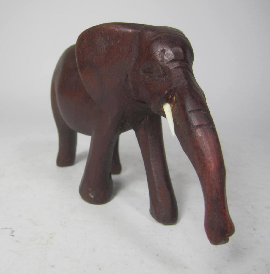 HAND CARVED KENYA WOODEN ELEPHANT - 3