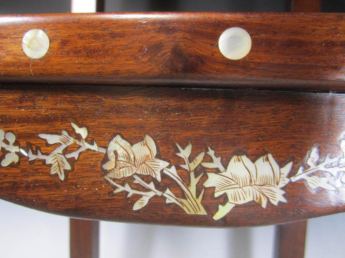 CHINESE ROSEWOOD MOTHER-OF-PEARL INLAY STOOL - 10