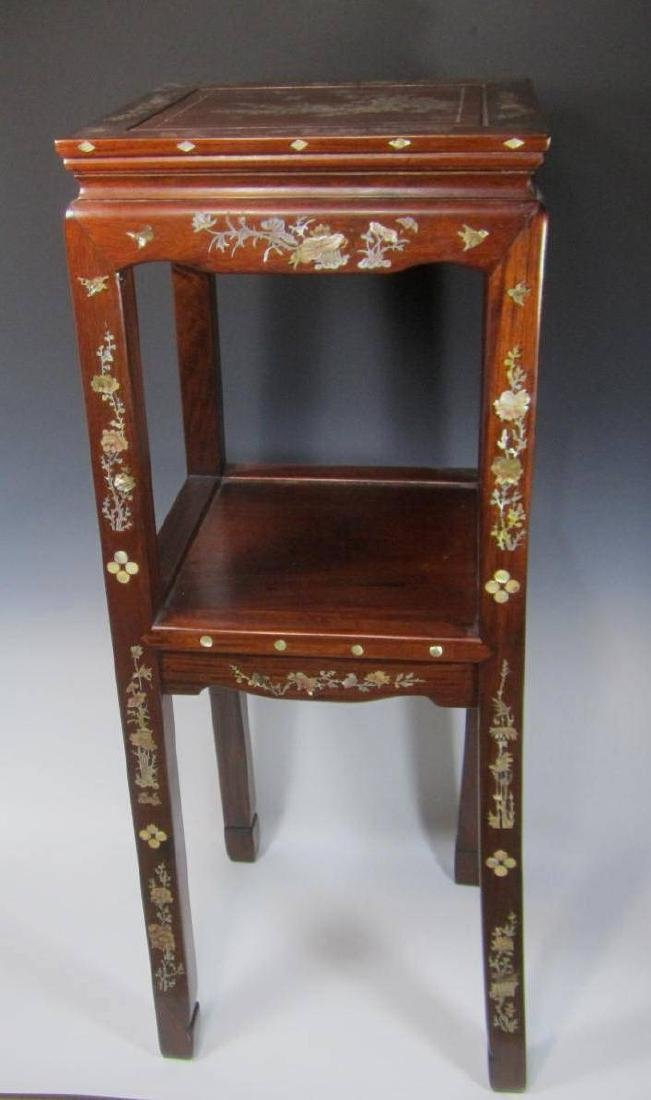 CHINESE ROSEWOOD MOTHER-OF-PEARL INLAY STOOL