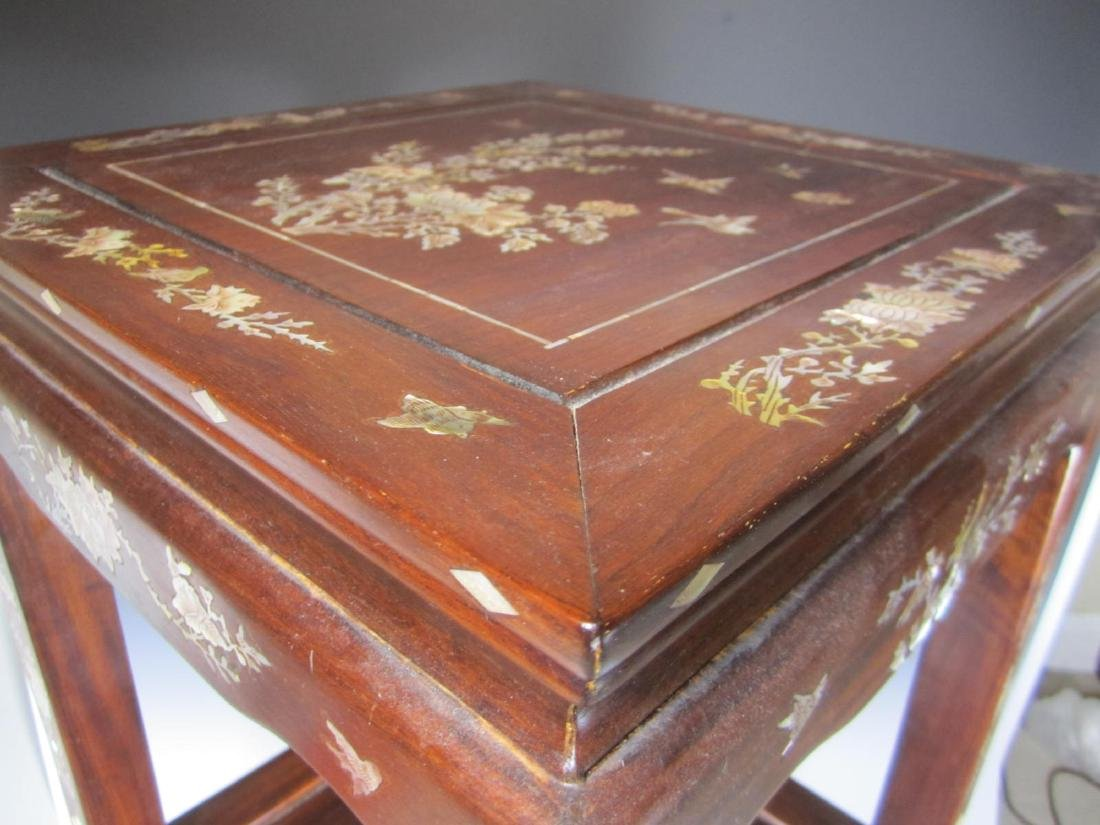 CHINESE ROSEWOOD MOTHER-OF-PEARL INLAY STOOL - 2