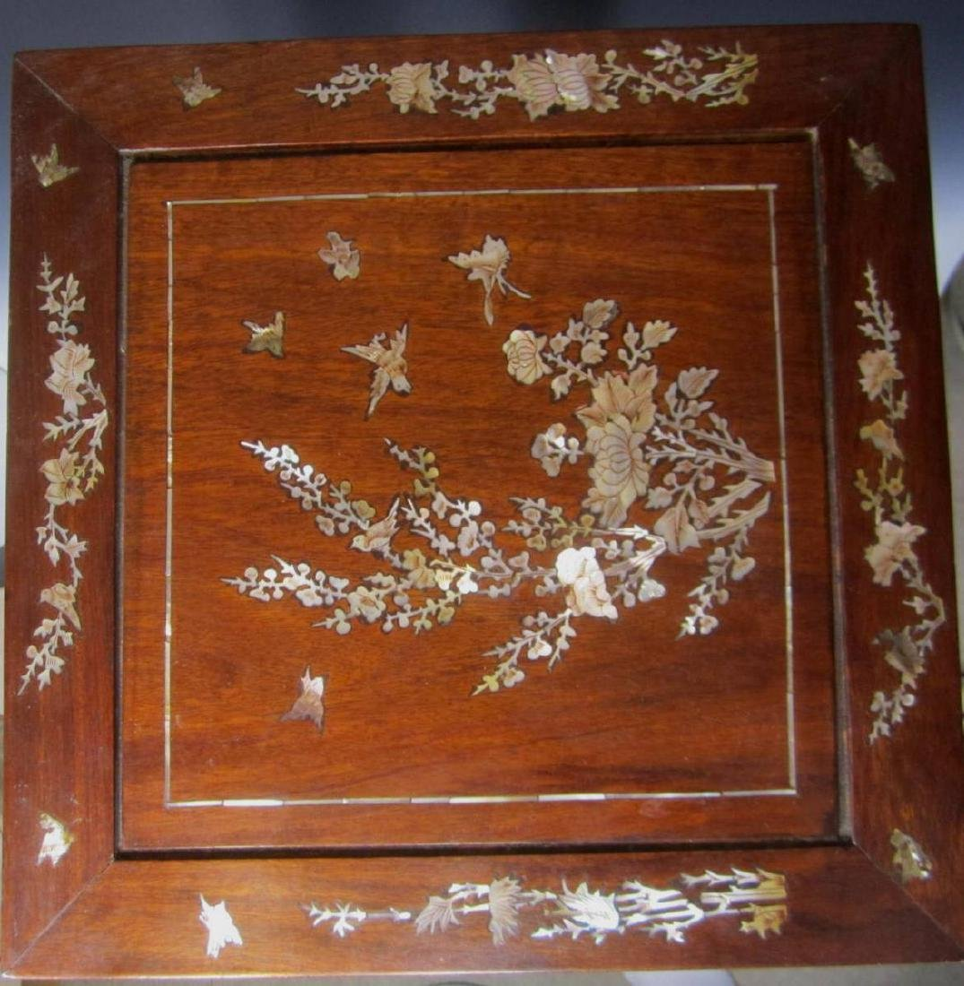 CHINESE ROSEWOOD MOTHER-OF-PEARL INLAY STOOL - 3