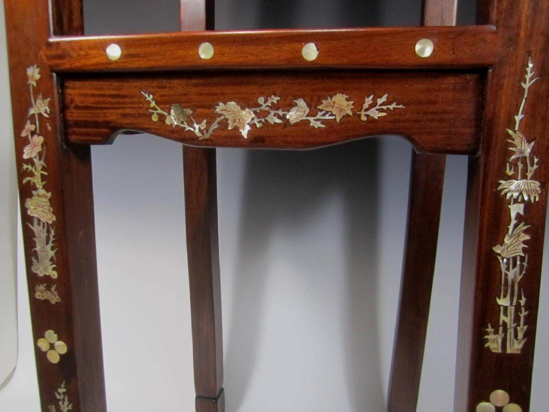 CHINESE ROSEWOOD MOTHER-OF-PEARL INLAY STOOL - 4