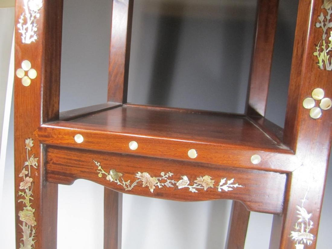 CHINESE ROSEWOOD MOTHER-OF-PEARL INLAY STOOL - 5