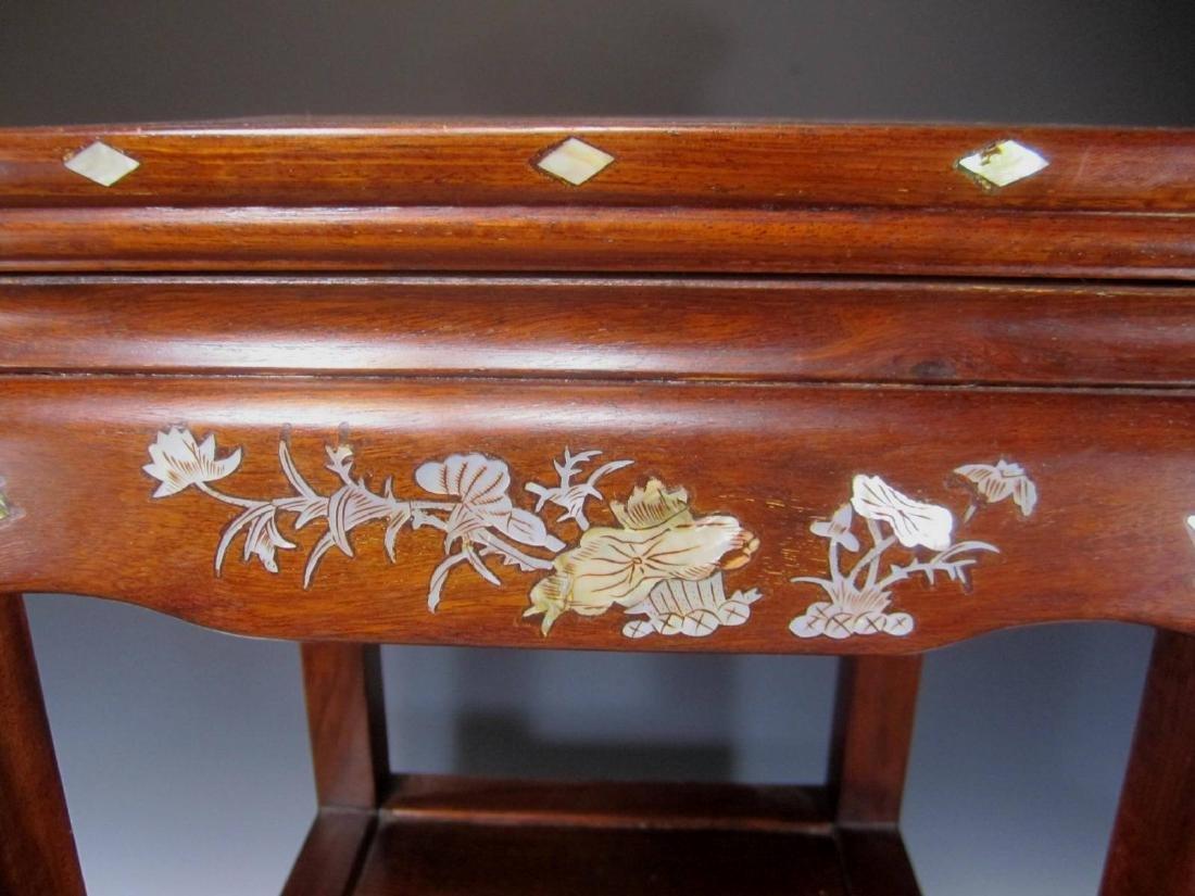 CHINESE ROSEWOOD MOTHER-OF-PEARL INLAY STOOL - 6