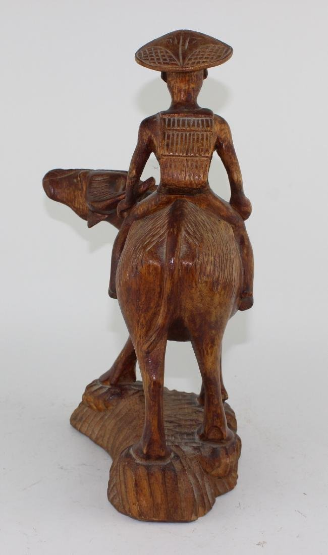 CHINESE CARVED BOY SITTING ON BUFFALO - 4