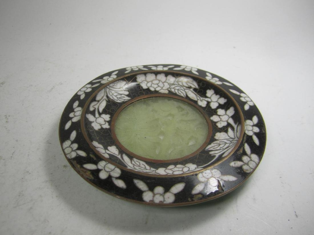 CHINESE CLOISONNE DISH WITH CARVED JADE BOTTEM.