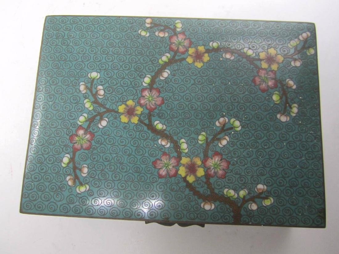 CHINESE CLOISONNE SQUARE JEWELRY BOX - 2