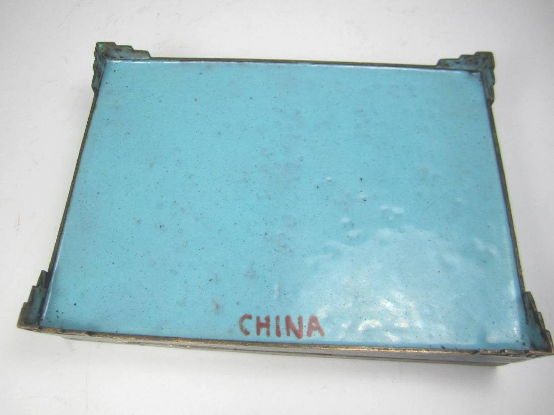 CHINESE CLOISONNE SQUARE JEWELRY BOX - 5