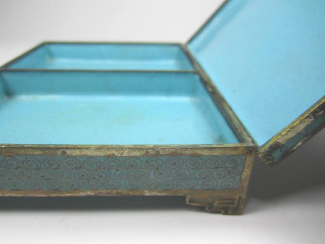 CHINESE CLOISONNE SQUARE JEWELRY BOX - 7
