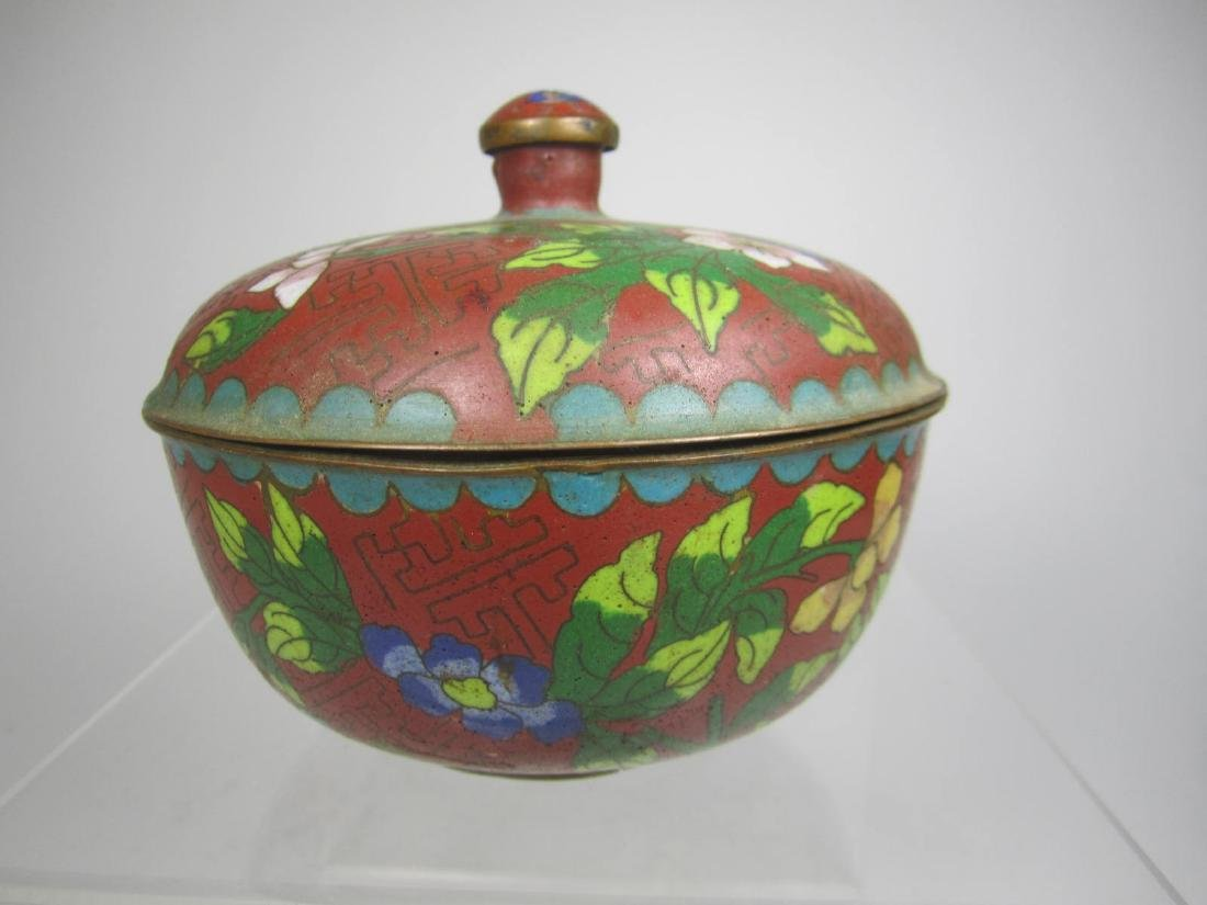 CHINESE CLOISONNE LIDDED BOW;L
