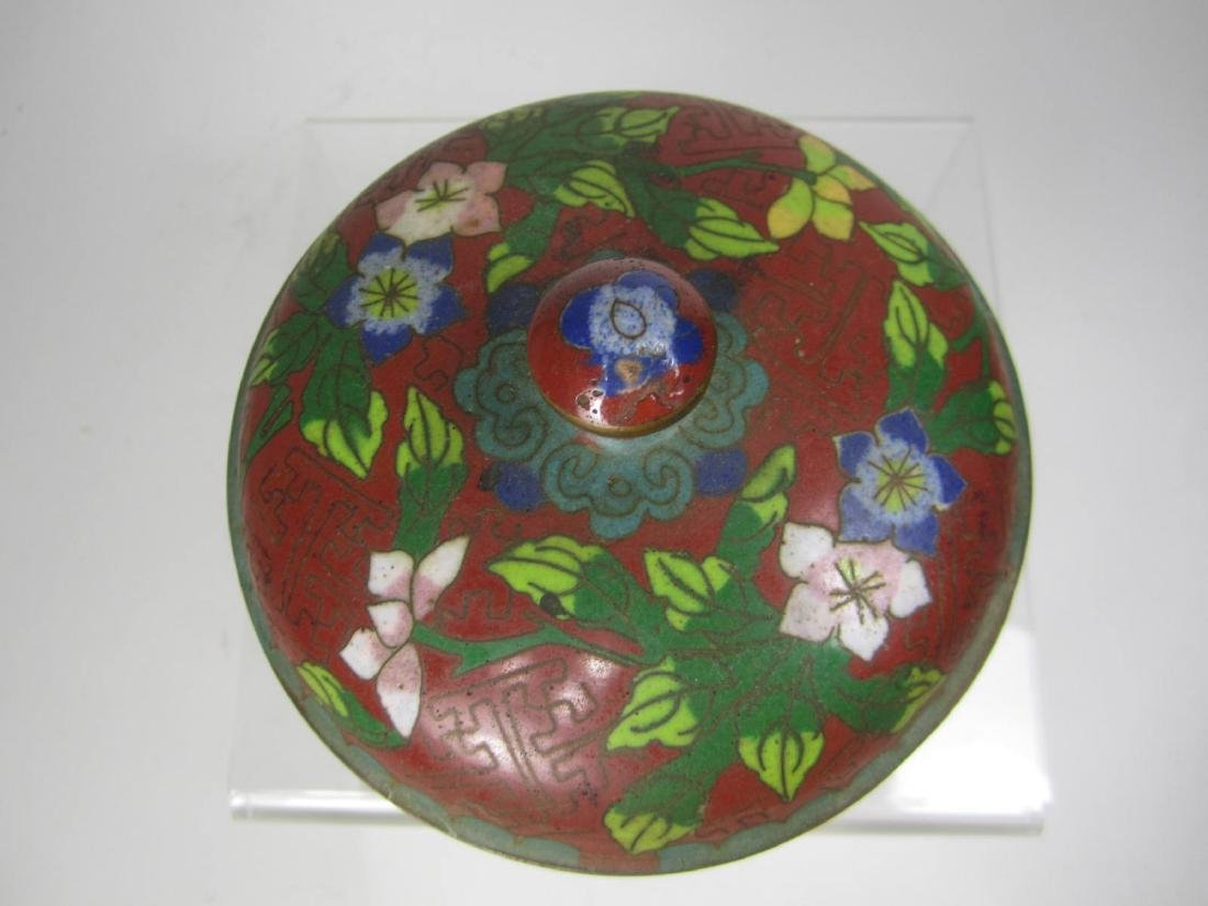 CHINESE CLOISONNE LIDDED BOW;L - 2