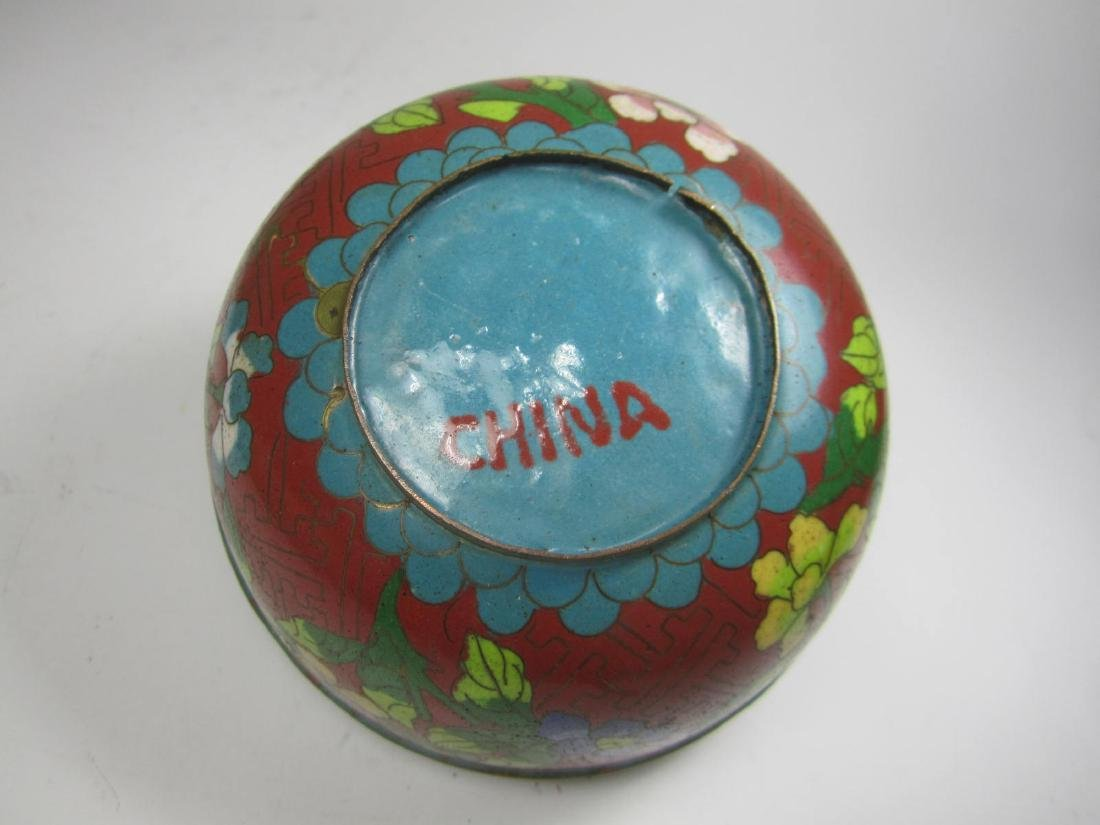 CHINESE CLOISONNE LIDDED BOW;L - 4