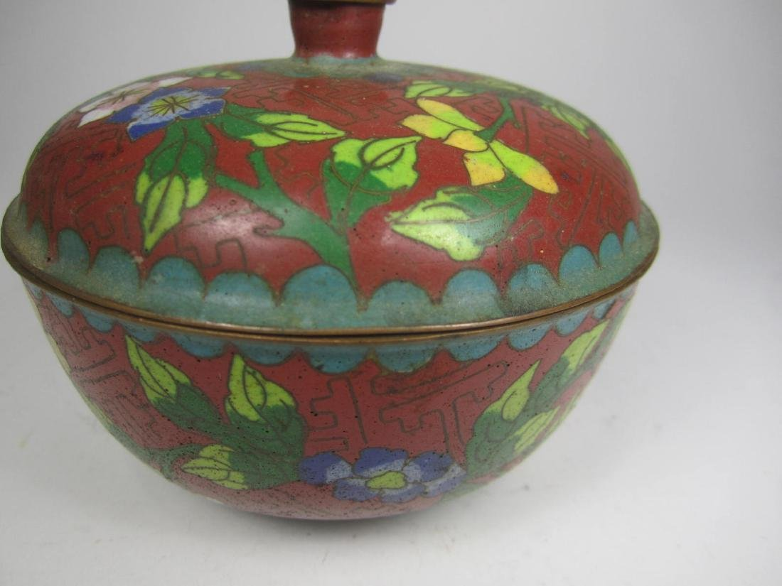 CHINESE CLOISONNE LIDDED BOW;L - 5