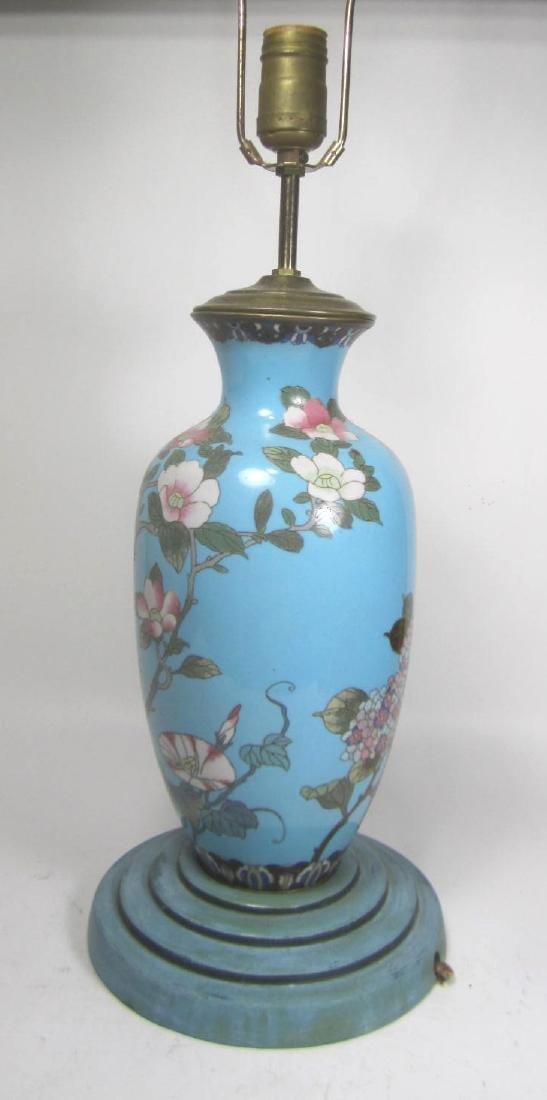CHINESE CLOISONNE ENAMEL VASE TABLE LAMP