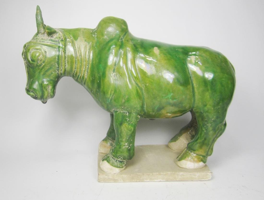 CHINESE GREEN GLAZE BULL