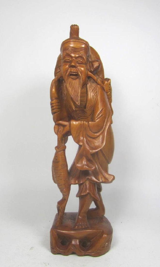 CHINESE CARVED BOXWOOD FISHMAN.