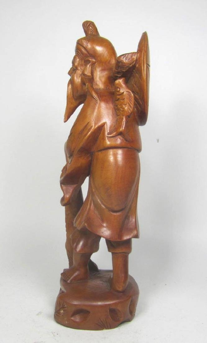 CHINESE CARVED BOXWOOD FISHMAN. - 2