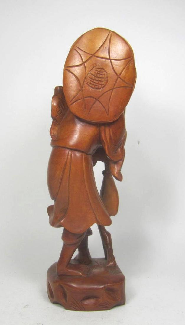 CHINESE CARVED BOXWOOD FISHMAN. - 3
