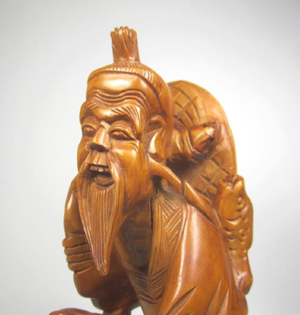 CHINESE CARVED BOXWOOD FISHMAN. - 4