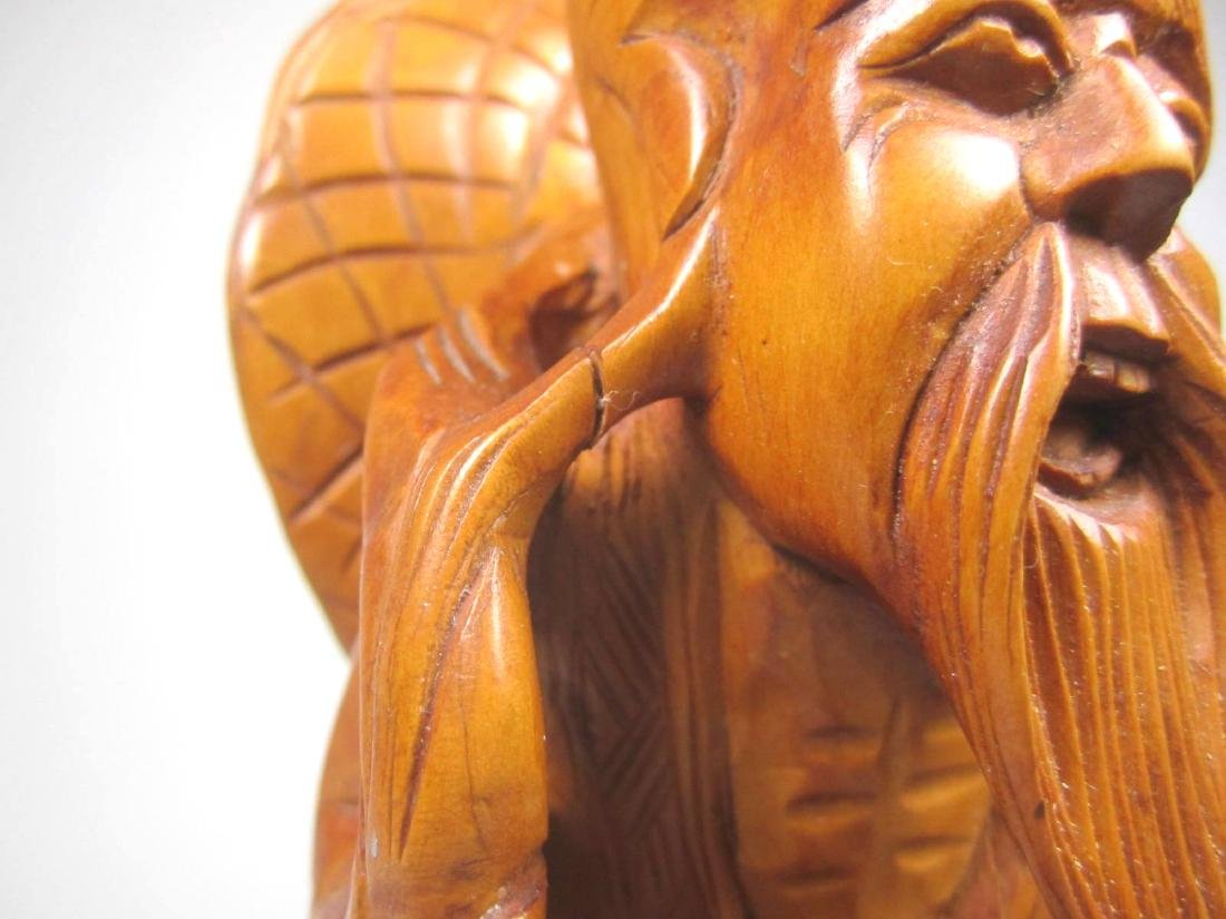 CHINESE CARVED BOXWOOD FISHMAN. - 5