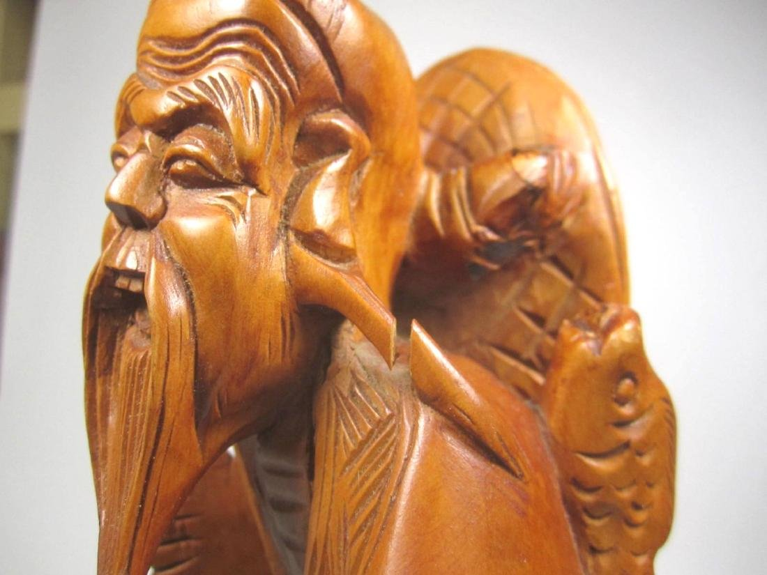 CHINESE CARVED BOXWOOD FISHMAN. - 6