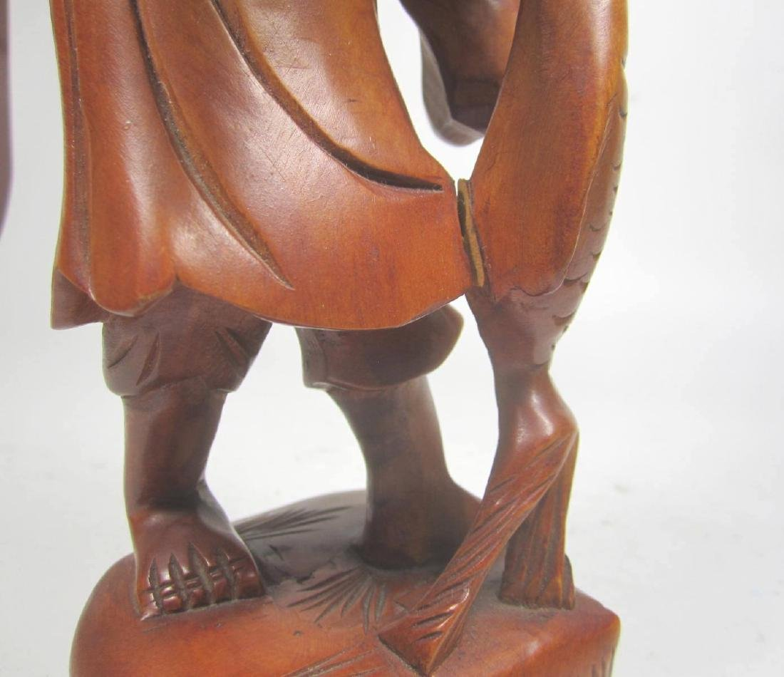 CHINESE CARVED BOXWOOD FISHMAN. - 8