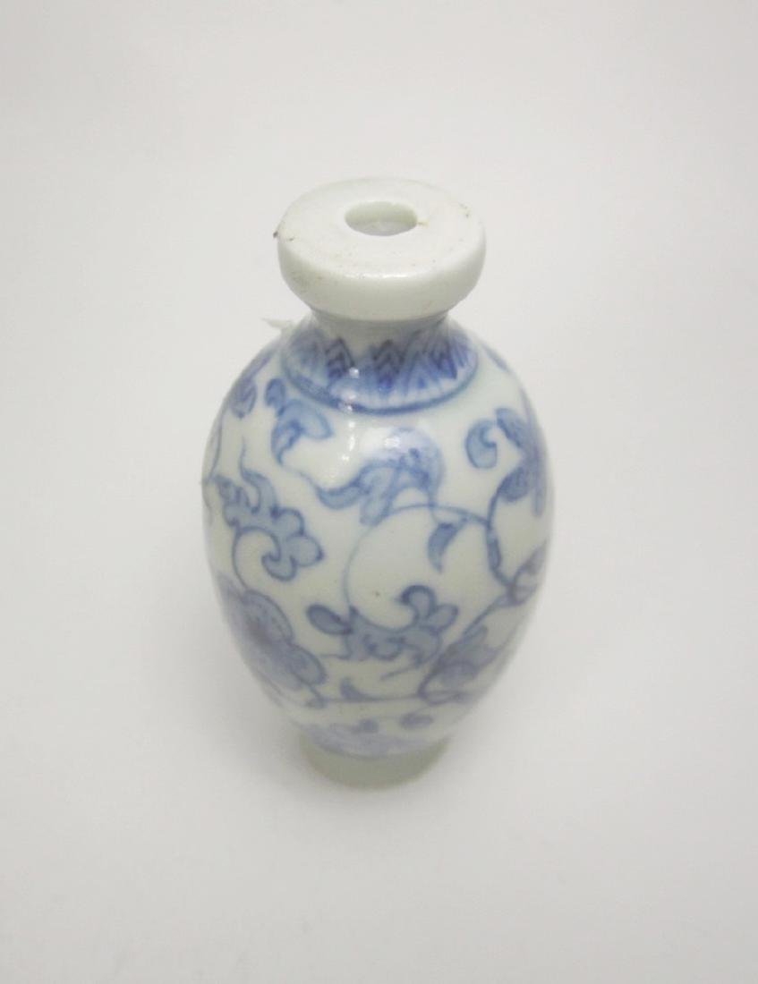 CHINESE BLUE & WHITE SNUFF BOTTLE - 2