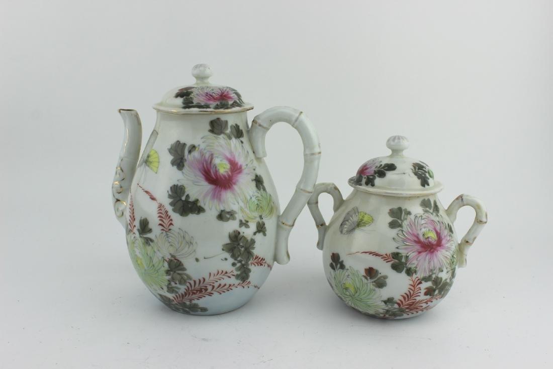 TWO FAMILLE ROSE TEA POTS