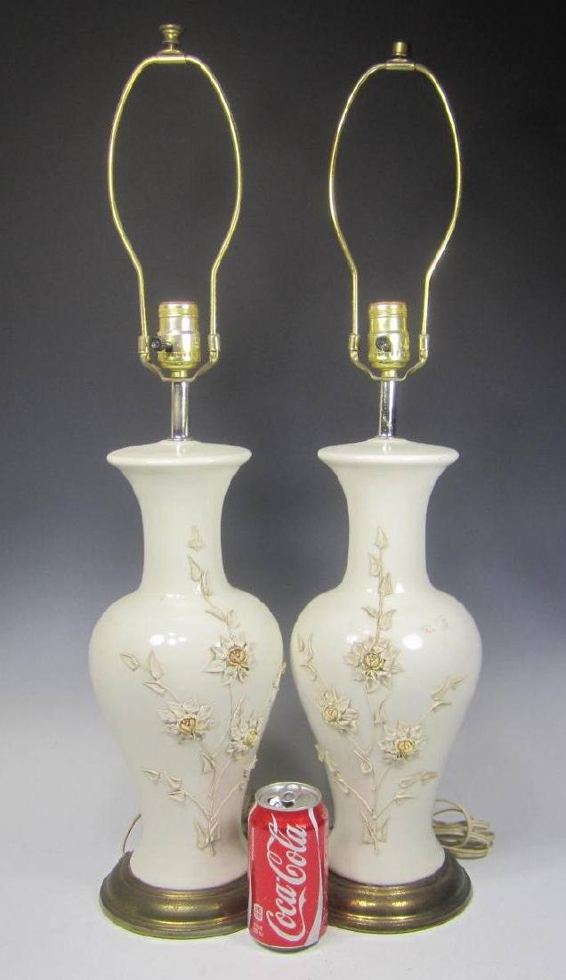 PAIR OF CHINESE WHITE PORCELAIN TABLE LAMPS