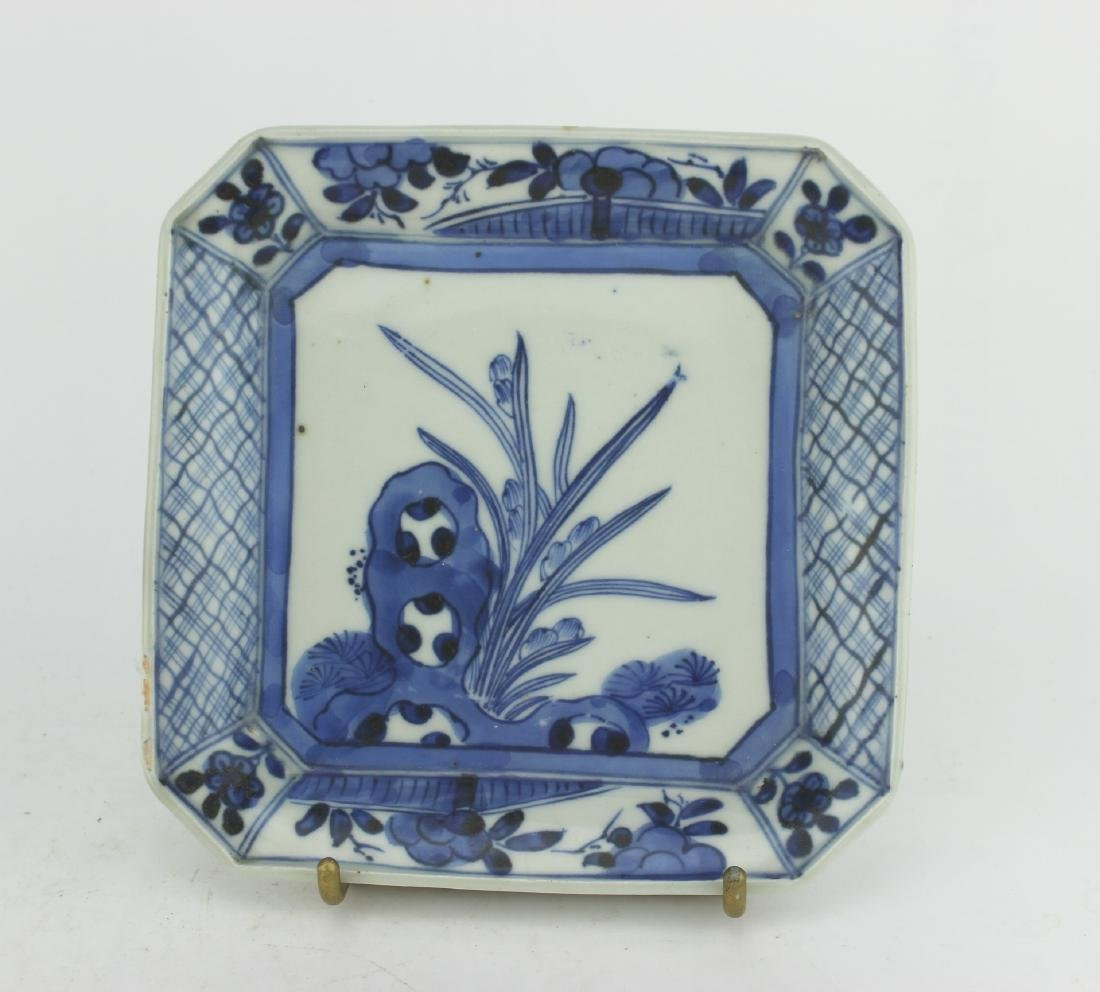 SQUARE BLUE AND WHITE DISH