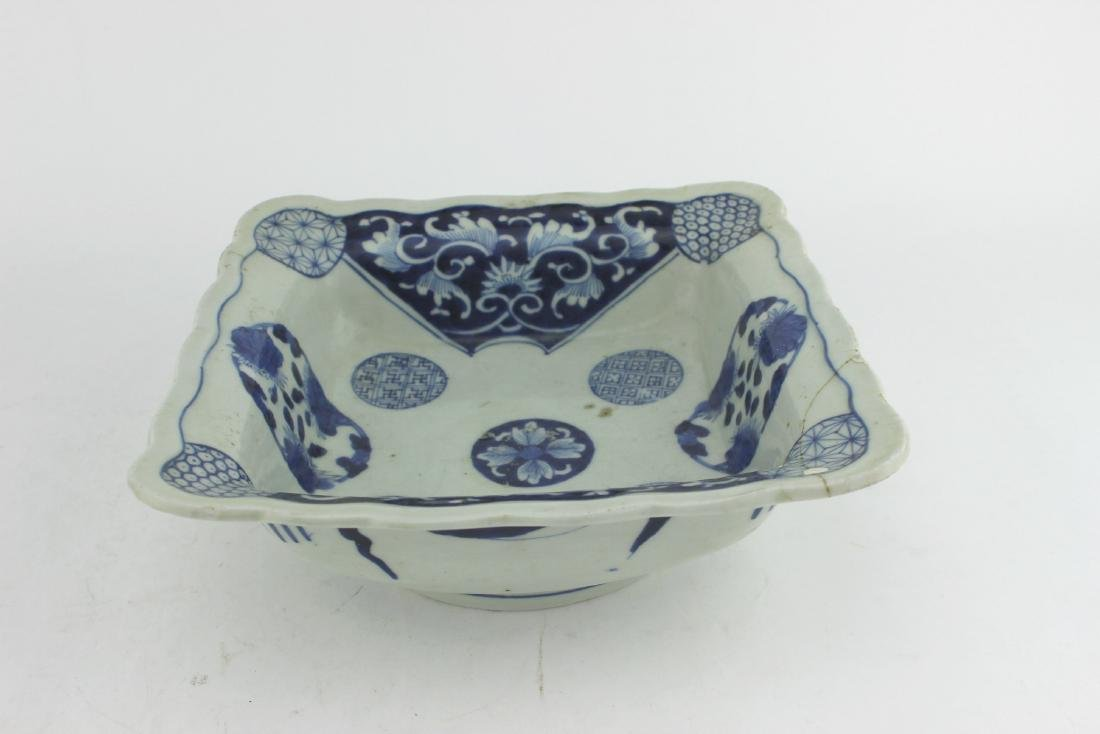 CHINESE BLUE/WHITE SQUARE SERVING DISH